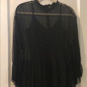 Zara mock neck lace dress